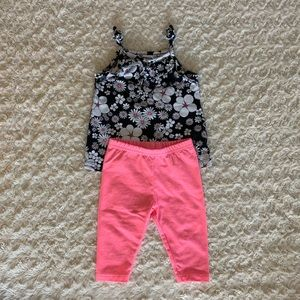 Floral tank and solid hot pink capri pants